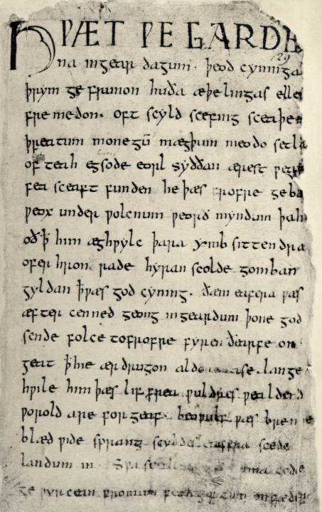 From Old English To Modern English  Openlearn  Open University An Example Of Old English Text Can Be Seen In The Start Of Anglosaxon Epic  Poem Beowulf Manuscript